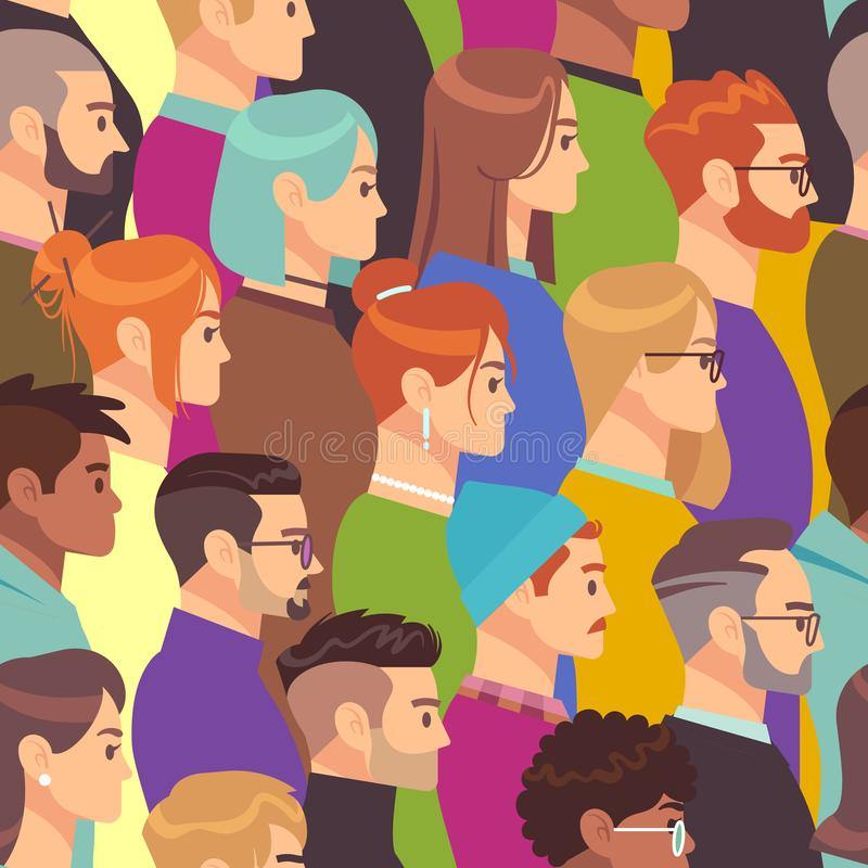 Crowd seamless pattern. Different people group, young men and women. Human heads in profile, population wallpaper vector vector illustration