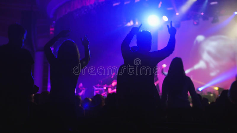 The crowd of shadows of people dancing at the concert royalty free stock image