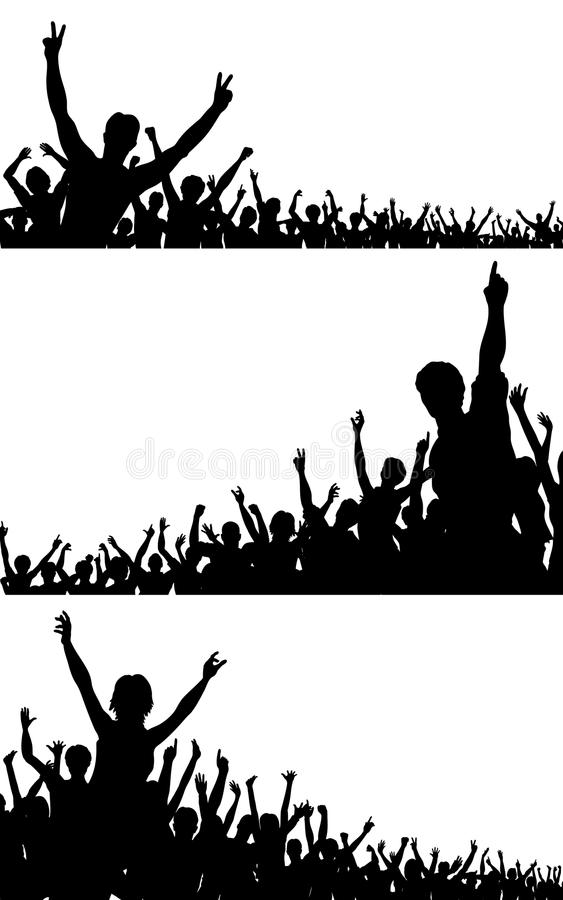 Crowd silhouettes royalty free illustration