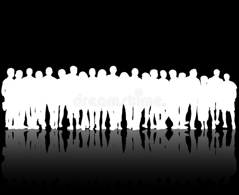 Crowd silhouettes stock illustration