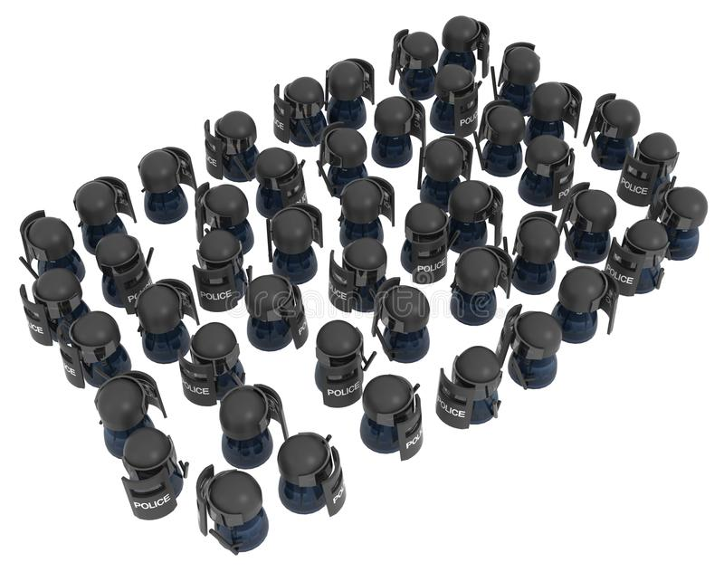 Riot Police Crowd. Crowd of small symbolic figures riot police, 3d illustration, horizontal, isolated, over white royalty free illustration