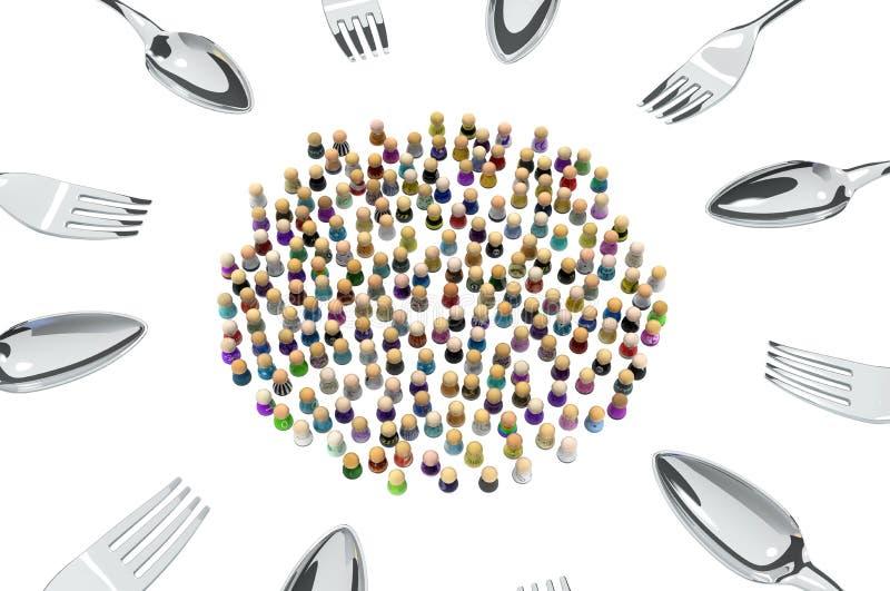 Cartoon Crowd Cutlery Ring Stock Illustration Illustration Of