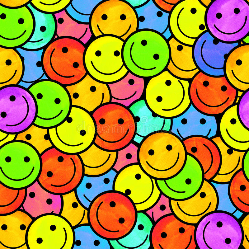 Crowd of Smiling emoticons. Smiles icon pattern. Modern pattern with colourful smileys for textiles, fabrics, prints, designs. Smiley face background vector illustration