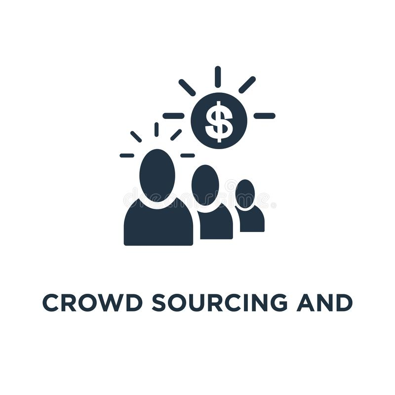 crowd sourcing and fundraising icon. start up business opportunity concept symbol design, corporate finance, group of people, royalty free illustration