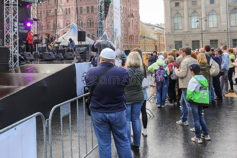 A crowd of spectators near the stage royalty free stock photos
