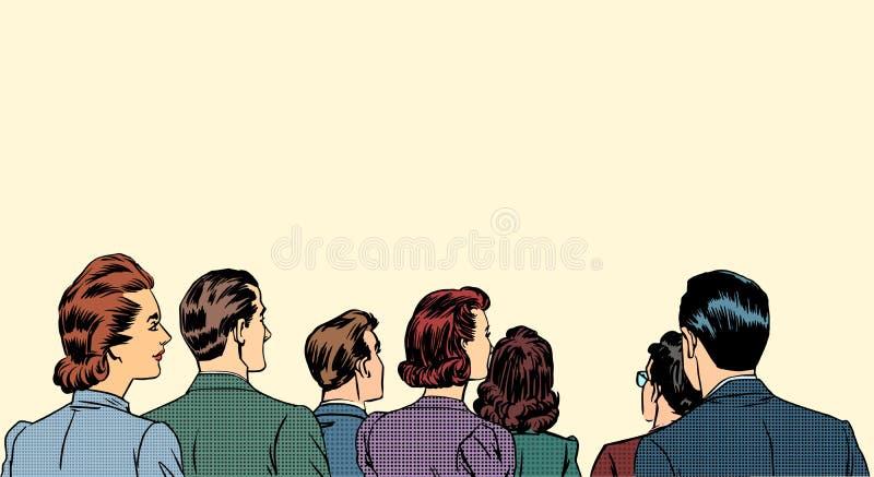 Crowd spectators stand back stock illustration