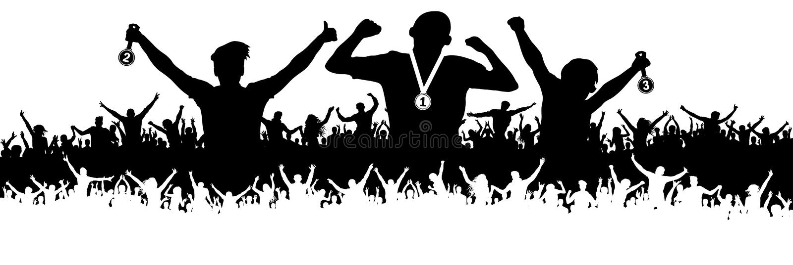 Crowd of sports fans silhouette. Ceremonies of awarding medals. Vector banner. Crowd of sports fans silhouette. Ceremonies of awarding medals. Vector banner stock illustration