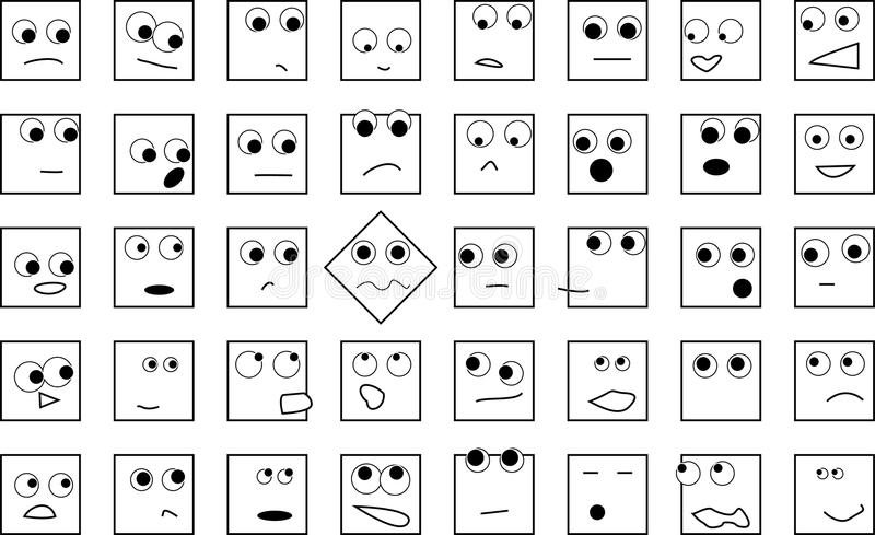 A crowd of square heads royalty free illustration