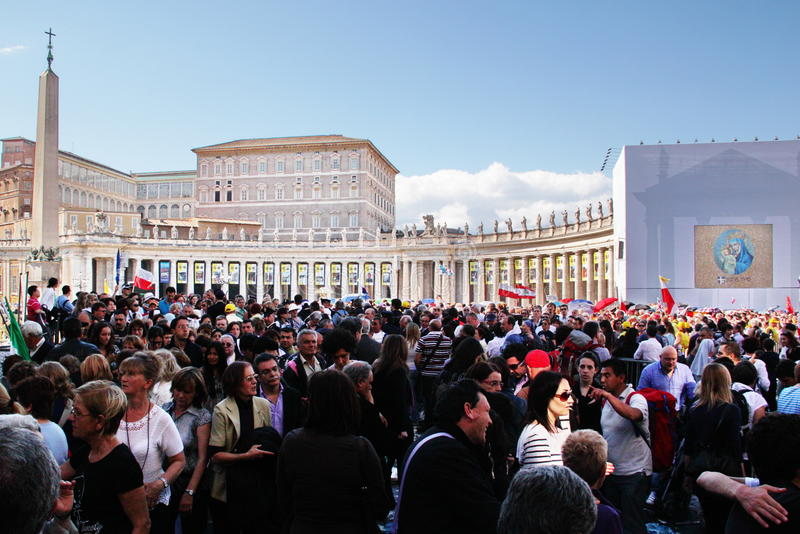 Crowd in st peter's square royalty free stock photo