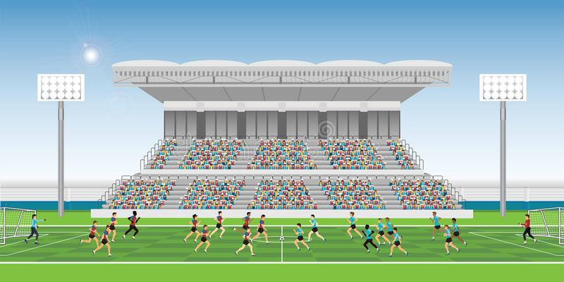 Crowd in stadium grandstand to cheering football match team play. Ers sport championship, soccer man players in action, vector illustration vector illustration