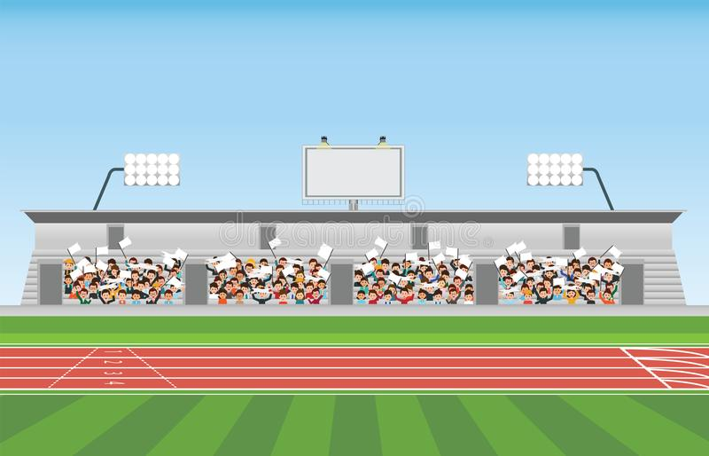 Crowd in stadium grandstand to cheering sport. Vector illustration stock illustration