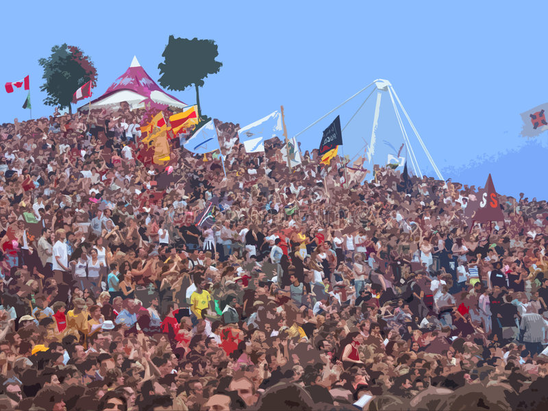 Crowd on stage 1 stock image