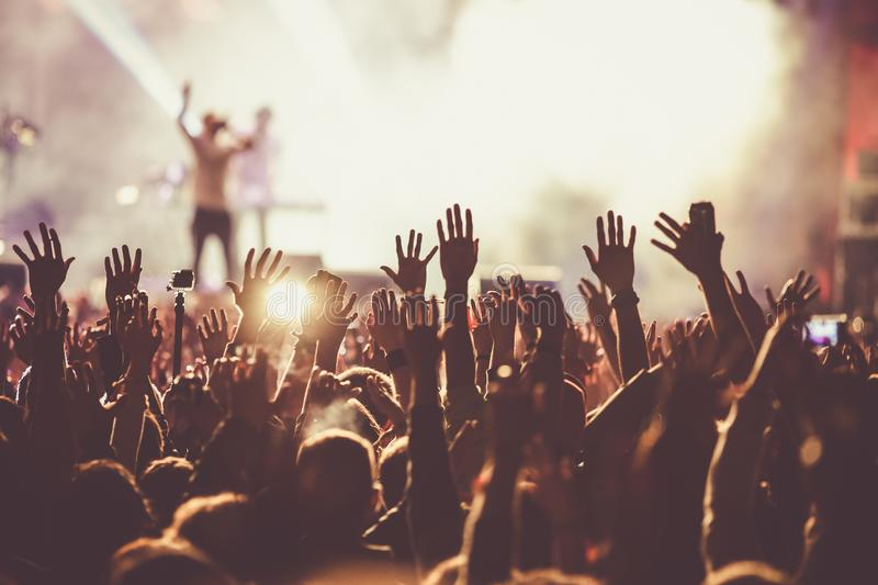 crowd at concert - summer music festival stock photo