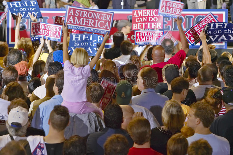 Crowd of supporters at Kerry Campaign rally, Thomas Mack Center at UNLV, Las Vegas, NV stock images