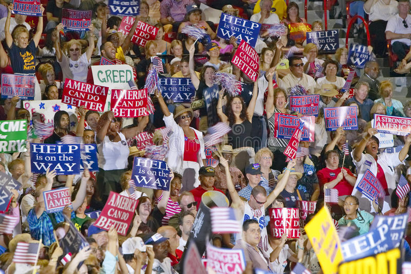 Crowd of supporters at Kerry Campaign rally, Thomas Mack Center at UNLV, Las Vegas, NV royalty free stock image