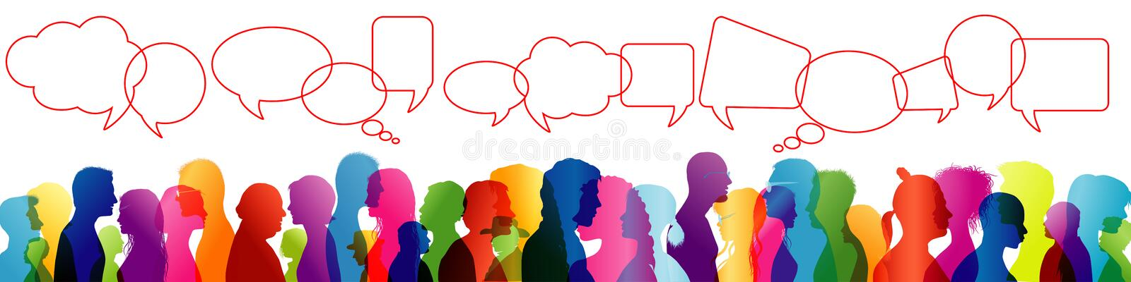 Crowd talking. Speech between people. To communicate. Group of people colored profile silhouette. Speech bubble. Speaking. Illustration with crowd chatting stock illustration