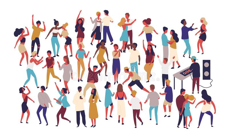 Crowd of tiny people dancing on dance floor at night club isolated on white background. Happy of men and women having vector illustration