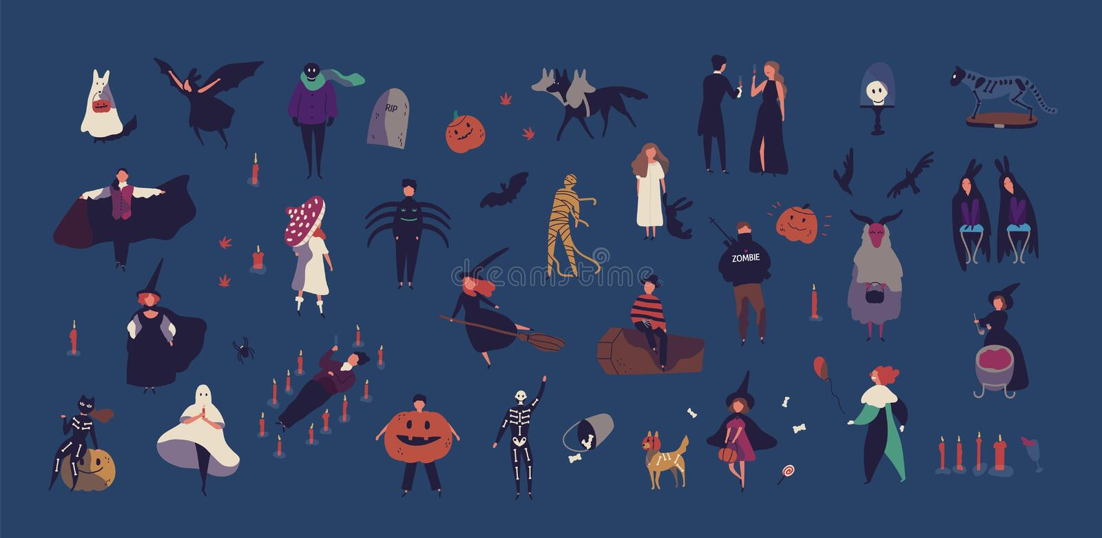 Crowd of tiny people dressed in various Halloween costumes isolated on dark background. Male and female cartoon. Characters at party or masquerade ball vector illustration