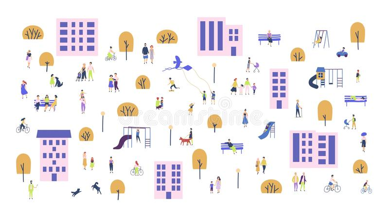 Crowd of tiny people walking with children or dogs, riding bicycles, sitting on bench in city suburbs. Cartoon men and stock illustration