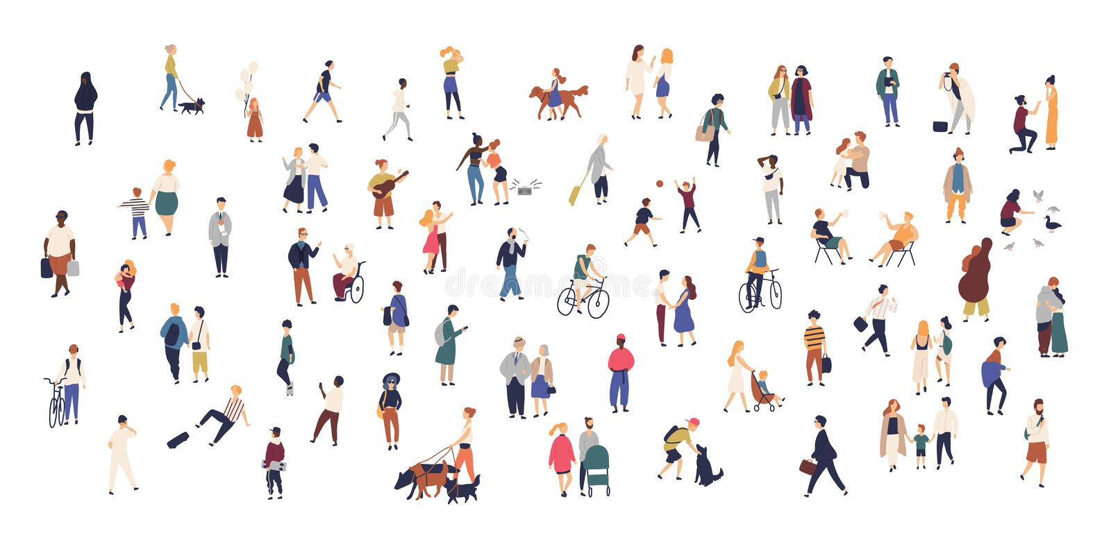 Crowd of tiny people walking with children or dogs, riding bicycles, standing, talking, running. Cartoon men and women. Performing outdoor activities on city vector illustration