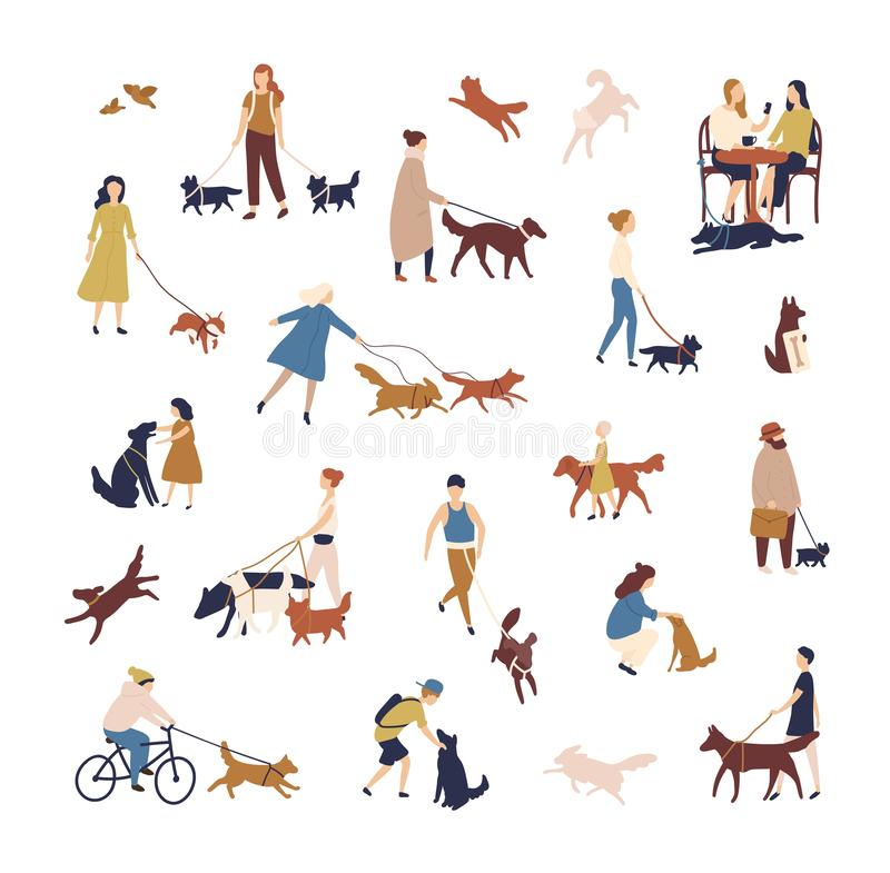 Crowd of tiny people walking their dogs on street. Group of men and women with pets or domestic animals performing stock illustration