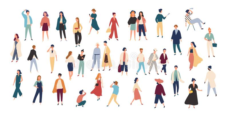 Crowd of tiny people wearing stylish clothes. Fashionable men and women at fashion week. Group of male and female. Cartoon characters dressed in trendy clothing stock illustration