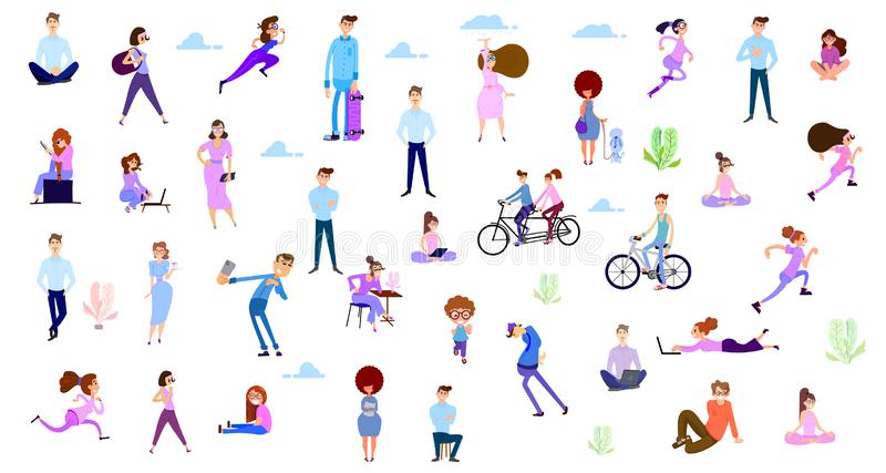 Crowd of tiny women and men active in the park. Flat design style vector graphic illustration various people set. royalty free illustration