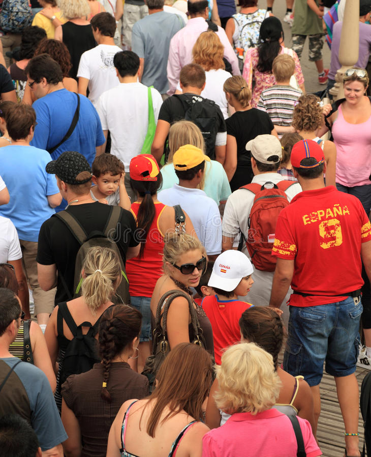 Crowd of tourists royalty free stock photo