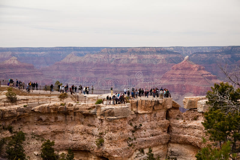 Crowd of Tourists at the Grand Canyon royalty free stock photography