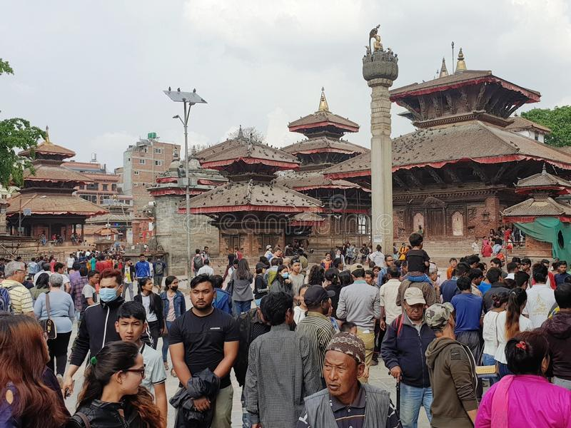 Crowd at the royal Durbar square in the Nepal capital Kathmandu stock image