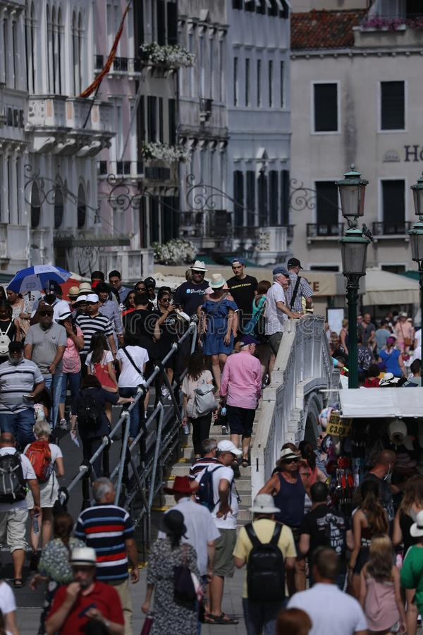 Crowd of tourists in Venice, Italy royalty free stock photography