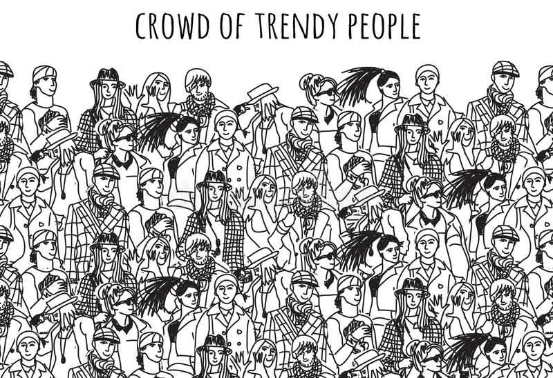Free Images Black And White People Crowd Statue: Crowd Of Trendy People Black And White. Stock Vector