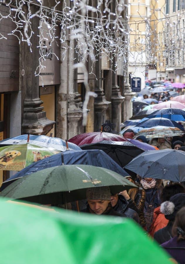 Crowd of Umbrellas in Venice royalty free stock photo