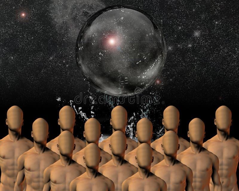 Crowd under sphere. High Resolution Illustration Crowd under sphere vector illustration
