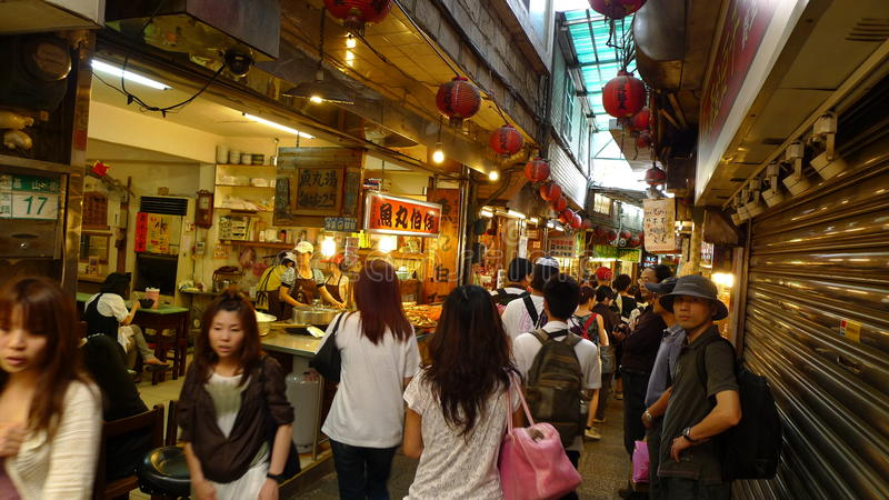 Crowd of visitors and tourists visit Jiufen old street, Taipei, Taiwan stock photo
