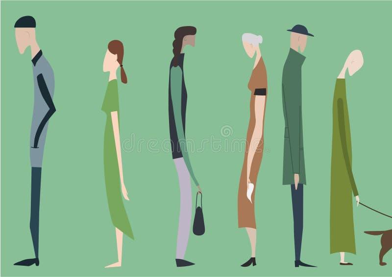 Crowd of walking people,  illustration. stock illustration