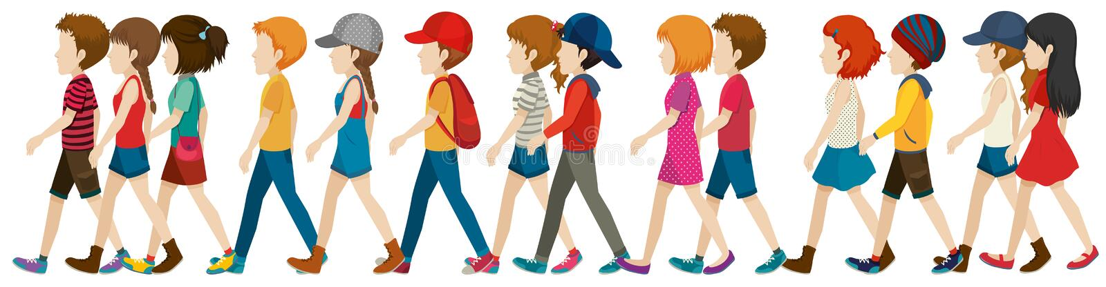 A crowd walking. On a white background vector illustration