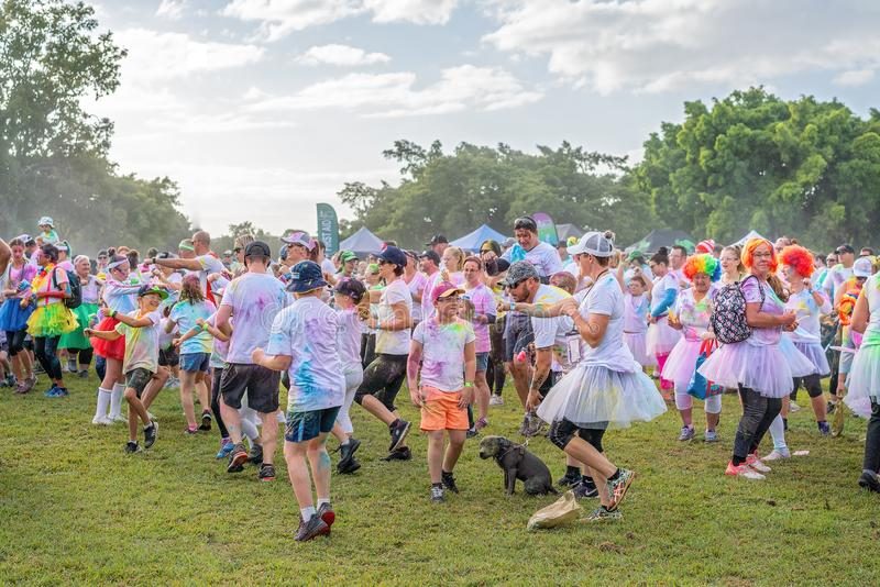 Crowd Warming Up Prior To Color Frenzy Fun Run royalty free stock image