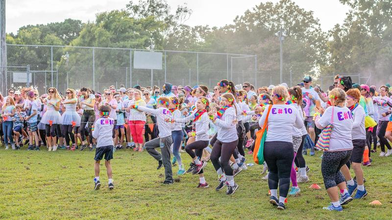 Crowd Warming Up Prior To Color Frenzy Fun Run stock image