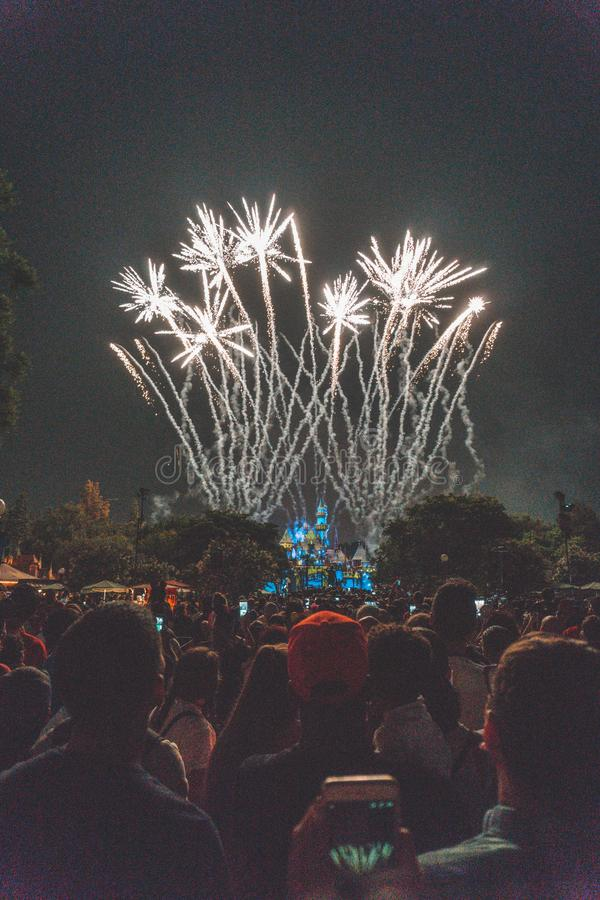 Crowd watching amazing fireworks in a park at night stock photography
