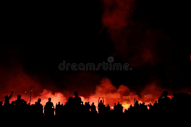Download Crowd watching explosions stock image. Image of burn, fire - 8241007