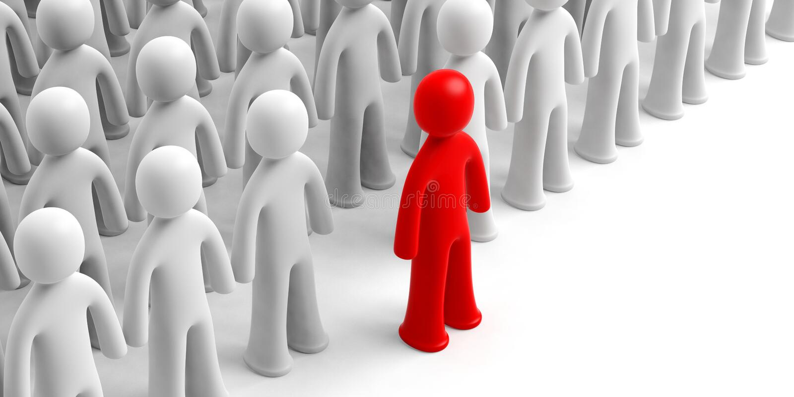 Crowd of white human figures, one red figure ahead, on white background, copy space. 3d illustration stock illustration