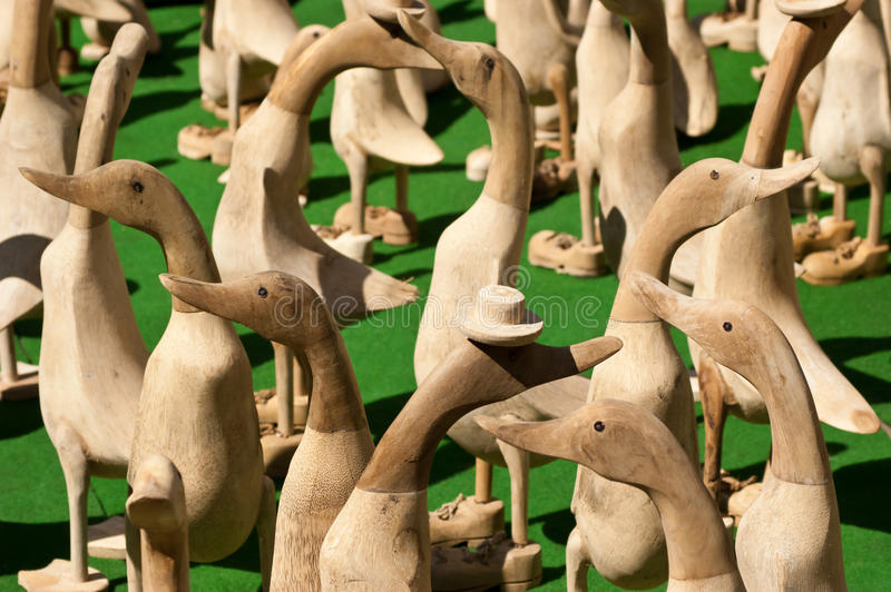 Crowd of Wooden Duck Ornaments royalty free stock photos