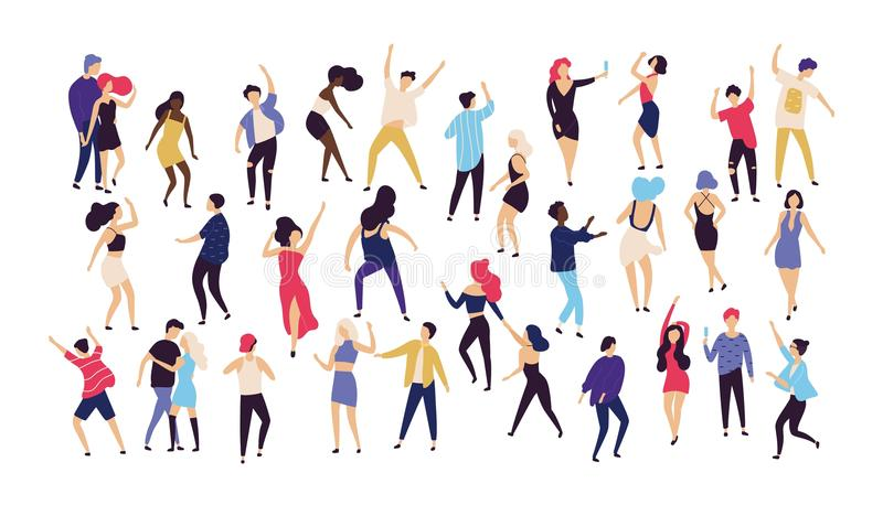 Crowd of young men and women dressed in trendy clothes dancing at club or music concert. Large group of male and female stock illustration