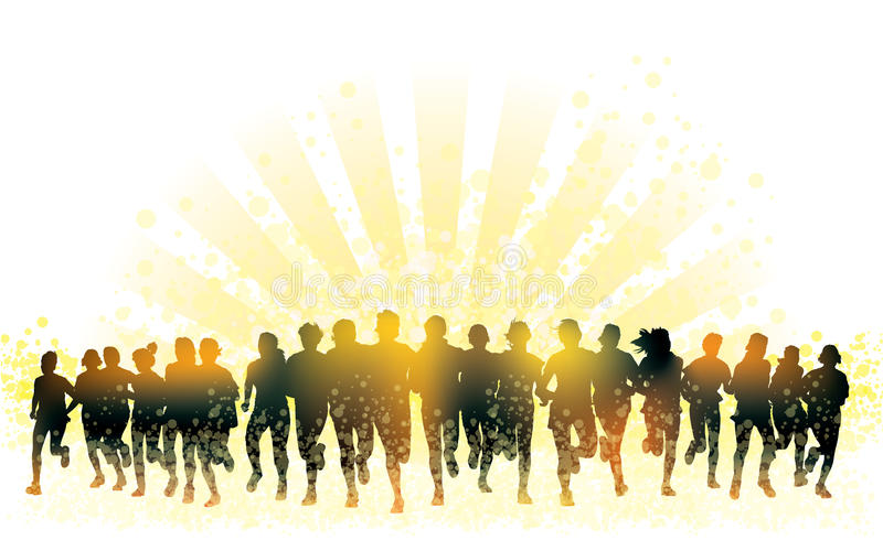 Running people. Crowd of young people running. Sport illustration stock illustration