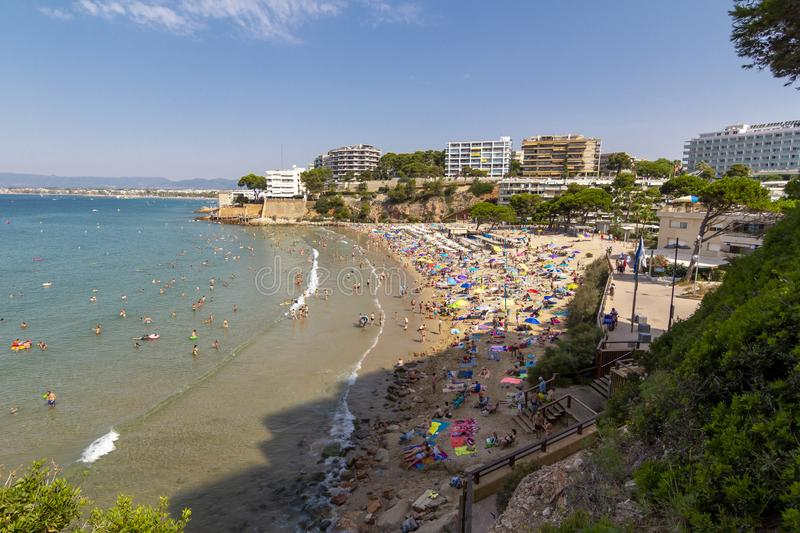 Crowded beach in Salou. Capellans crowded beach in Salou, Spain royalty free stock images
