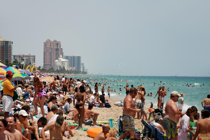 Crowded beach in Fort lauderdale, Florida royalty free stock image