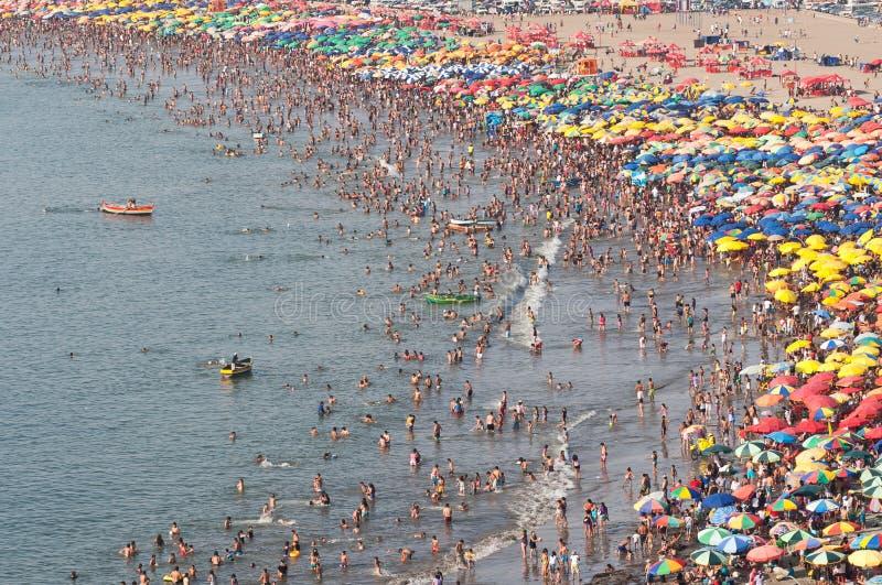 Crowded Beach. On a sunday at Lima, Peru stock photo
