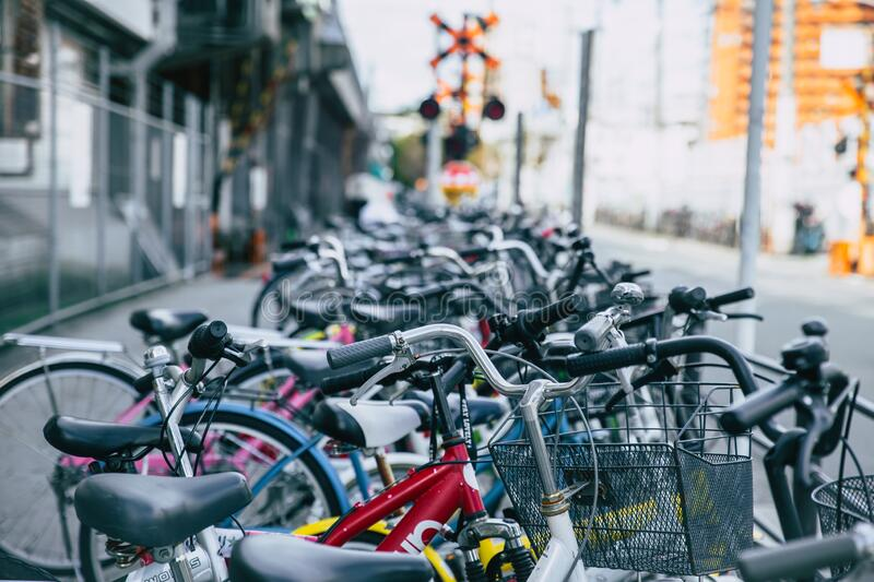 Crowded bicycle at Bicycle parking in Japan due to outbreak of the virus CoronavirusCovid-19 causes people to become more popula stock images
