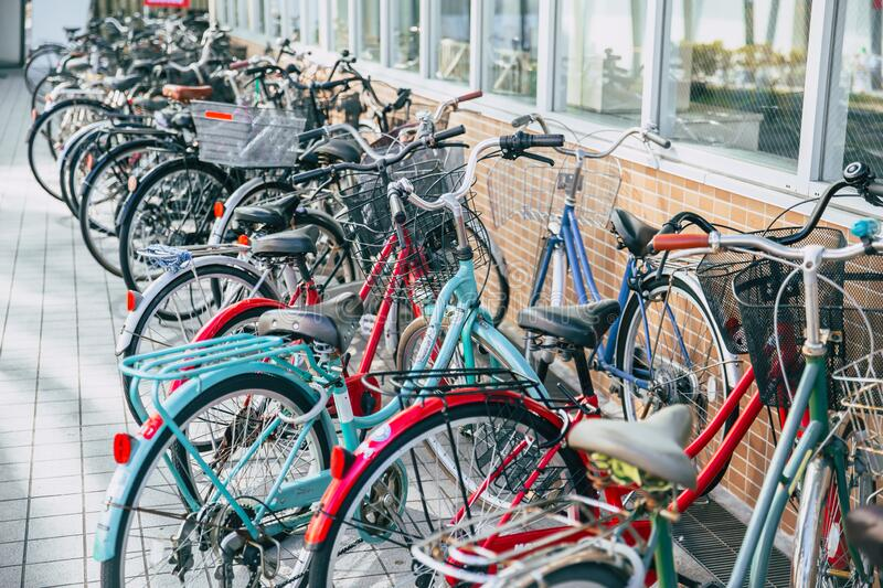 Crowded bicycle at Bicycle parking in Japan due to outbreak of the virus CoronavirusCovid-19 causes people to become more popula royalty free stock image